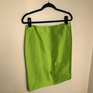 🌸 Talbots Silk Lime Green Pencil Skirt Sz 8 Zip